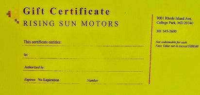 Auto Repair Gift Certificate in College Park, MD
