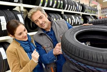 Customer Shopping for Tires